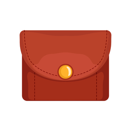 Red leather purse, money and finance vector Illustration isolated on a white background. Illustration