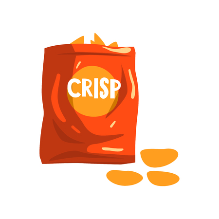 Red bag package of crisp potato chips snacks vector Illustration on a white background