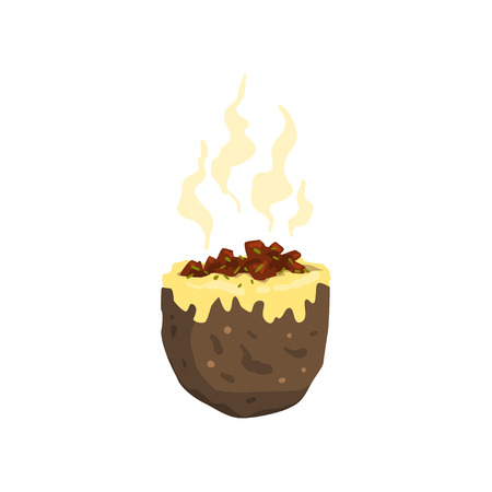 Baked jacket potato, tasty delicious hot fast food vector Illustration on a white background