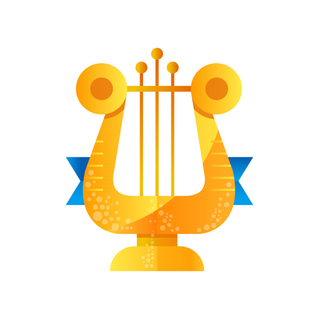 Lyre golden music award vector Illustration isolated on a white background.