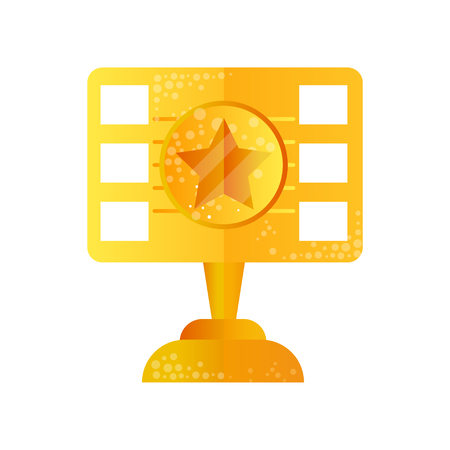 Golden film award vector Illustration isolated on a white background.