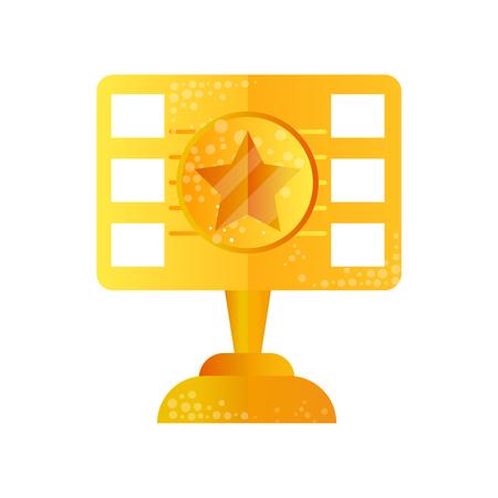 Golden film award vector Illustration isolated on a white background.