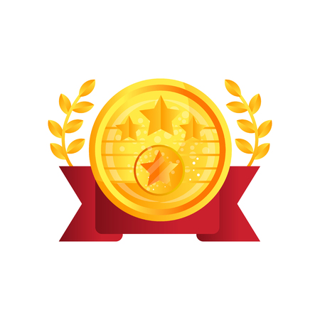 Gold medal award with red ribbon and laurel vector Illustration isolated on a white background.