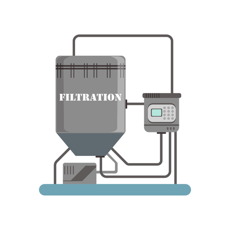 Filtration, equipment for sunflower oil production vector Illustration isolated on a white background.
