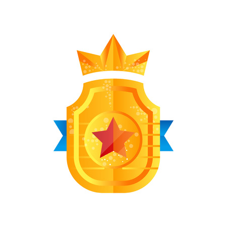 Golden shield award with crown, heraldic symbol vector Illustration on a white background