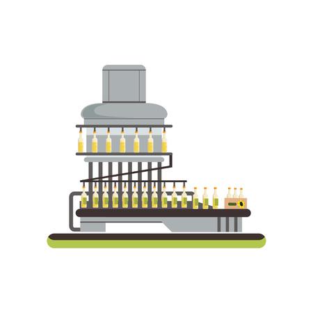 Bottling of sunflower oil, equipment for oil production process vector Illustration on a white background