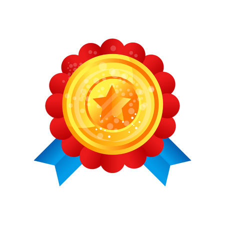 Gold medal award with star and ribbon vector Illustration on a white background