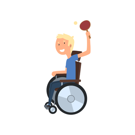 Disabled man playing table tennis, rehabilitation of disabled people concept vector Illustration on a white background