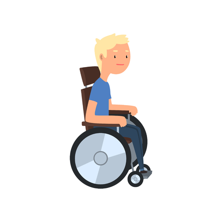 Disabled man in wheelchair, rehabilitation of disabled people concept vector Illustration on a white background