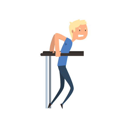 Disabled man exercising on uneven bar, medical rehabilitation, remedial gymnastics vector Illustration on a white background.
