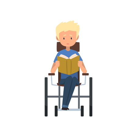Disabled man sitting in wheelchair reading a book vector Illustration on a white background Illustration