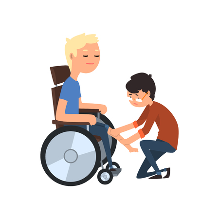 Physiotherapist and disabled patient, medical rehabilitation, physical therapy ector Illustration on a white background