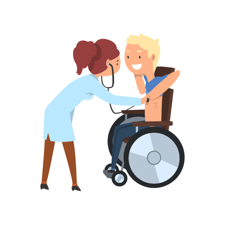 Doctor with stethoscope examining disabled patient, rehabilitation of disabled people concept vector Illustration on a white background Illustration