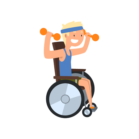 Disabled man in wheelchair exercising with dumbbells, medical rehabilitation, remedial gymnastics vector Illustration on a white background Illustration