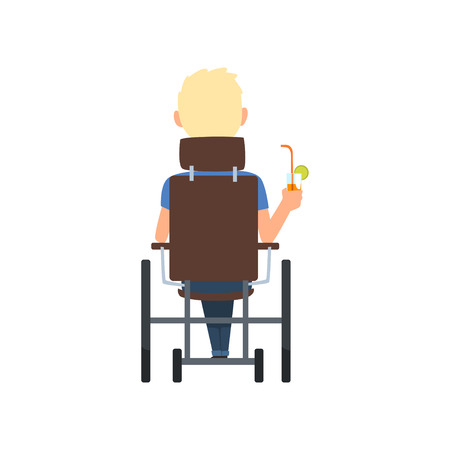 Disabled man in wheelchair drinking cocktail, summer vacation, , rehabilitation of disabled people concept, back view vector Illustration on a white background Illustration