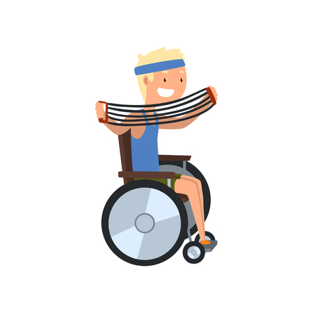 Disabled man in wheelchair exercising with shoulder expander, medical rehabilitation, remedial gymnastics vector Illustration on a white background Illustration