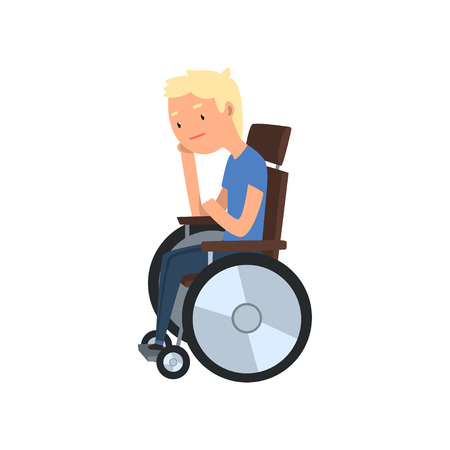 Young disabled man sitting in wheelchair vector Illustration on a white background