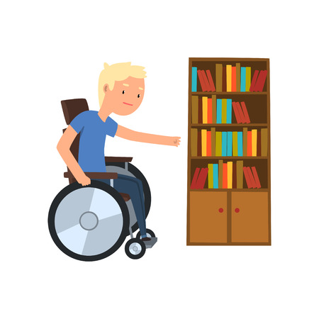 Disabled man in wheelchair next to the bookcase vector Illustration on a white background Stock Illustratie