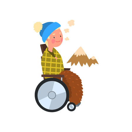 Disabled man in wheelchair on a walk outdoors, rehabilitation of disabled people concept vector Illustration on a white background