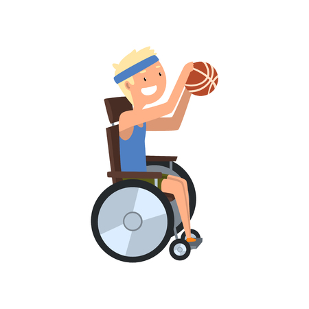Disabled man playing basketball, rehabilitation of disabled people concept vector Illustration on a white background