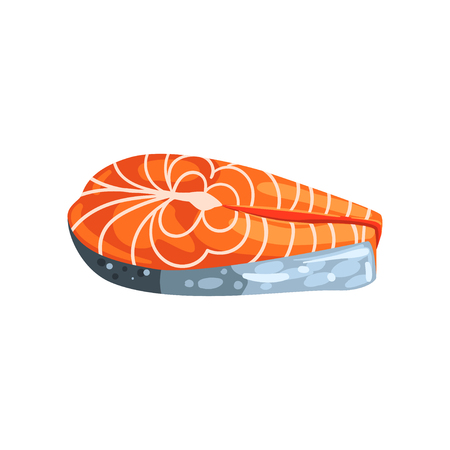 Steak of salmon red fish, seafood product vector Illustration on a white background Иллюстрация