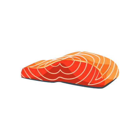 Filet of salmon red fish, seafood product vector Illustration on a white background 스톡 콘텐츠 - 101375873