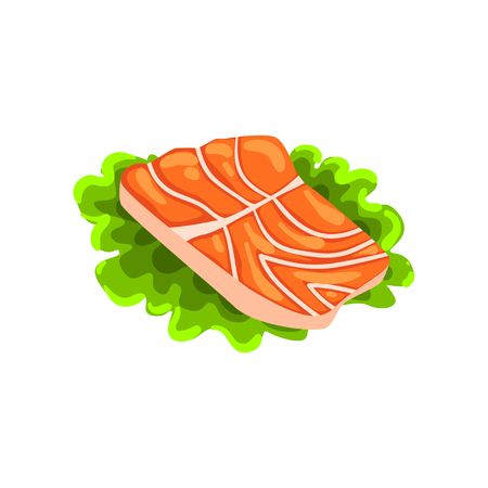 Fillet of fresh red salmon fish, seafood product vector Illustration on a white background