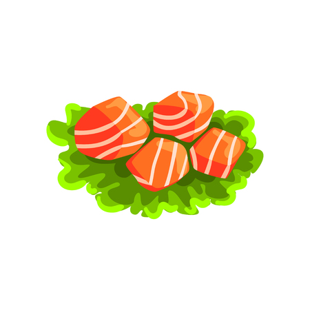 Pieces of fresh salmon fish, seafood product vector Illustration on a white background