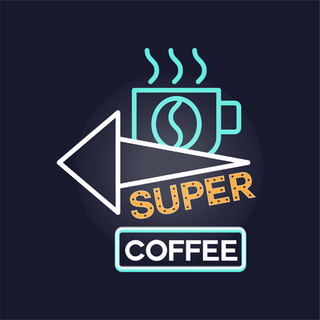 Super coffee retro neon sign, vintage bright glowing signboard, light banner vector Illustration