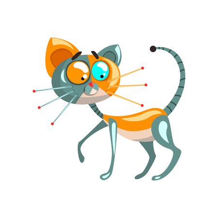 Cute robotic cat, artificial intelligence concept vector Illustrations on a white background Illustration