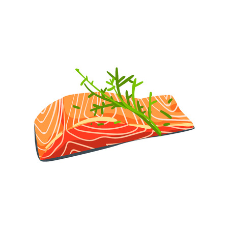 Salmon steak with dill, seafood product vector Illustration on a white background