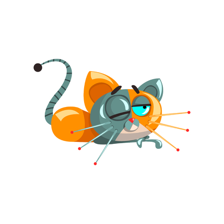 Cute funny robotic cat lying on the floor, artificial intelligence concept vector Illustrations on a white background