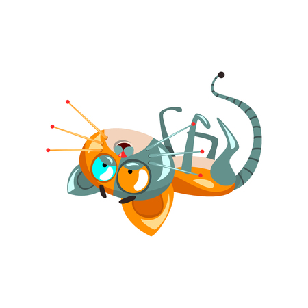 Cute funny robotic cat lying on his back, artificial intelligence concept vector Illustrations on a white background