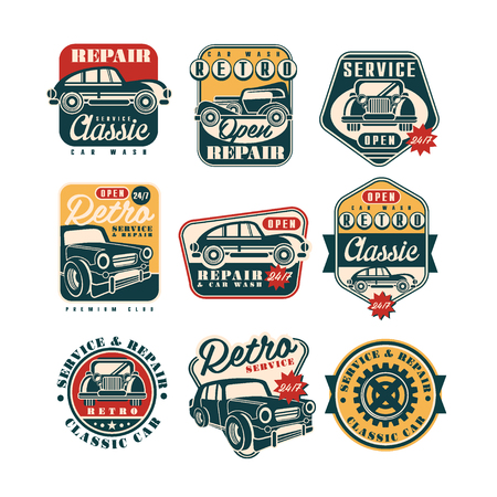 Car service and repair vintage style labels set, auto wash retro classic  badge vector Illustrations on a white background Illustration