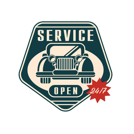 Car service  open 24 7, auto repair vintage label vector Illustration on a white background