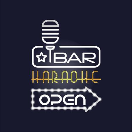Bar, karaoke retro neon sign, vintage bright glowing signboard, light banner vector Illustration Ilustração