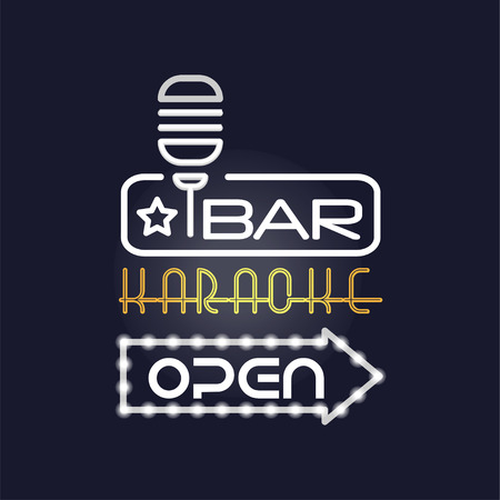 Bar, karaoke retro neon sign, vintage bright glowing signboard, light banner vector Illustration Illustration