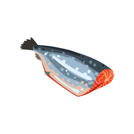Salmon fish without head, seafood product vector Illustration on a white background 일러스트