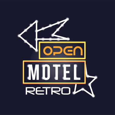 Retro motel neon sign, vintage bright glowing signboard, light banner vector Illustration