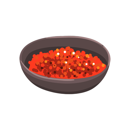 Red caviar in a bowl, seafood product vector Illustration on a white background