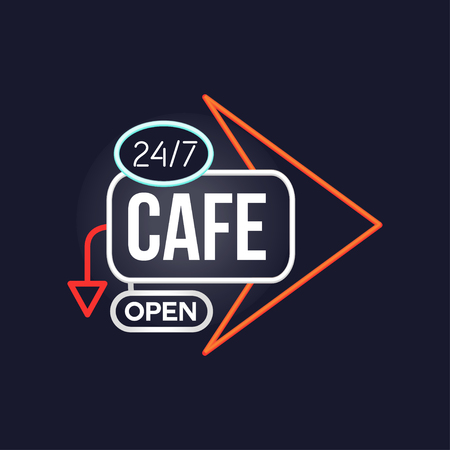 Cafe open 24 7 retro neon sign, vintage bright glowing signboard, light banner vector Illustration