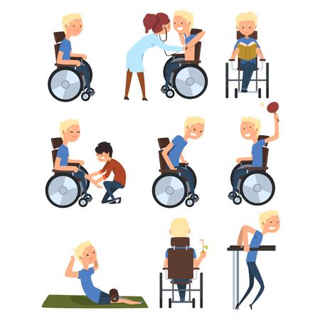 Hombre en silla de ruedas en diferentes situaciones, rehabilitación y estilo de vida activo del vector de concepto de personas con discapacidad ilustración sobre un fondo blanco