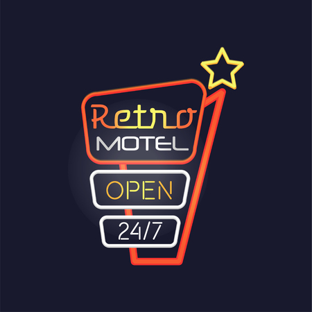Retro motel open 24 7 neon sign, vintage bright glowing signboard, light banner vector Illustration 向量圖像