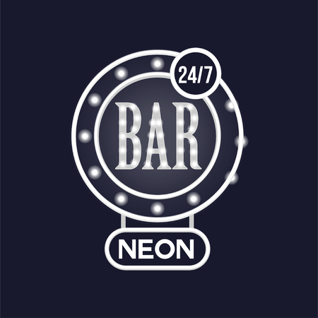 Bar 24 7 neon sign, vintage bright glowing signboard, light banner vector Illustration, web design Illustration
