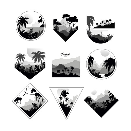 Collection of monochrome geometric tropical, badges with tropical trees, retro style design for banner, poster, placard, brochure vector Illustrations on a white background