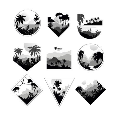 Sammlung von monochromen geometrischen tropischen, Abzeichen mit tropischen Bäumen, Retro-Artentwurf für Fahne, Plakat, Plakat, Broschürenvektorillustrationen auf einem weißen Hintergrund