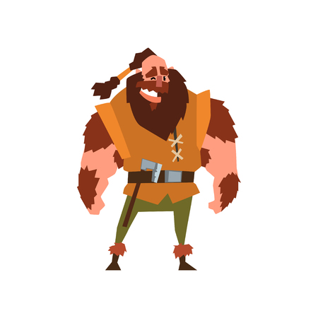 Muscular viking warrior character vector Illustration on a white background Çizim