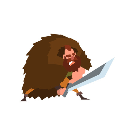 Angry viking warrior character in animal skin cape with sword vector Illustration on a white background