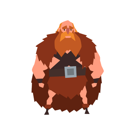 Viking warrior character in animal skin cape vector Illustration on a white background