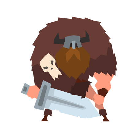Viking warrior character with sword in helmet with horns vector Illustration on a white background Çizim